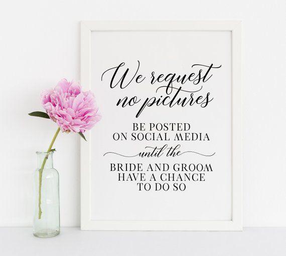 No Ceremony Just Reception: No Pictures Wedding Sign, Wedding Signs, No Pictures On