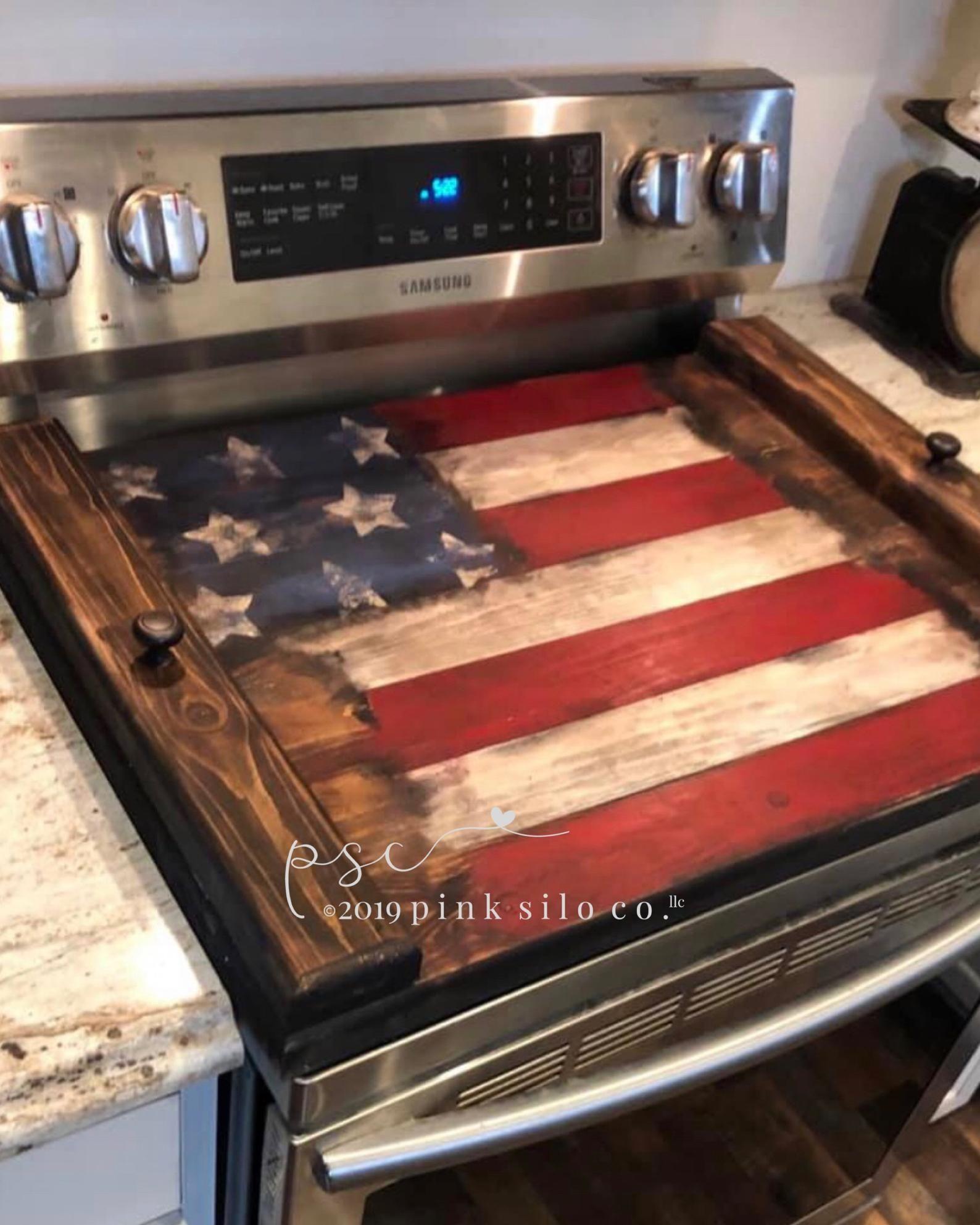 American Flag Noodle Board American Flag Stove Cover Rustic Americana Decor Rustic Stove Top Cover God Bless America Sign Noodle Board Stove Top Cover Stove Cover