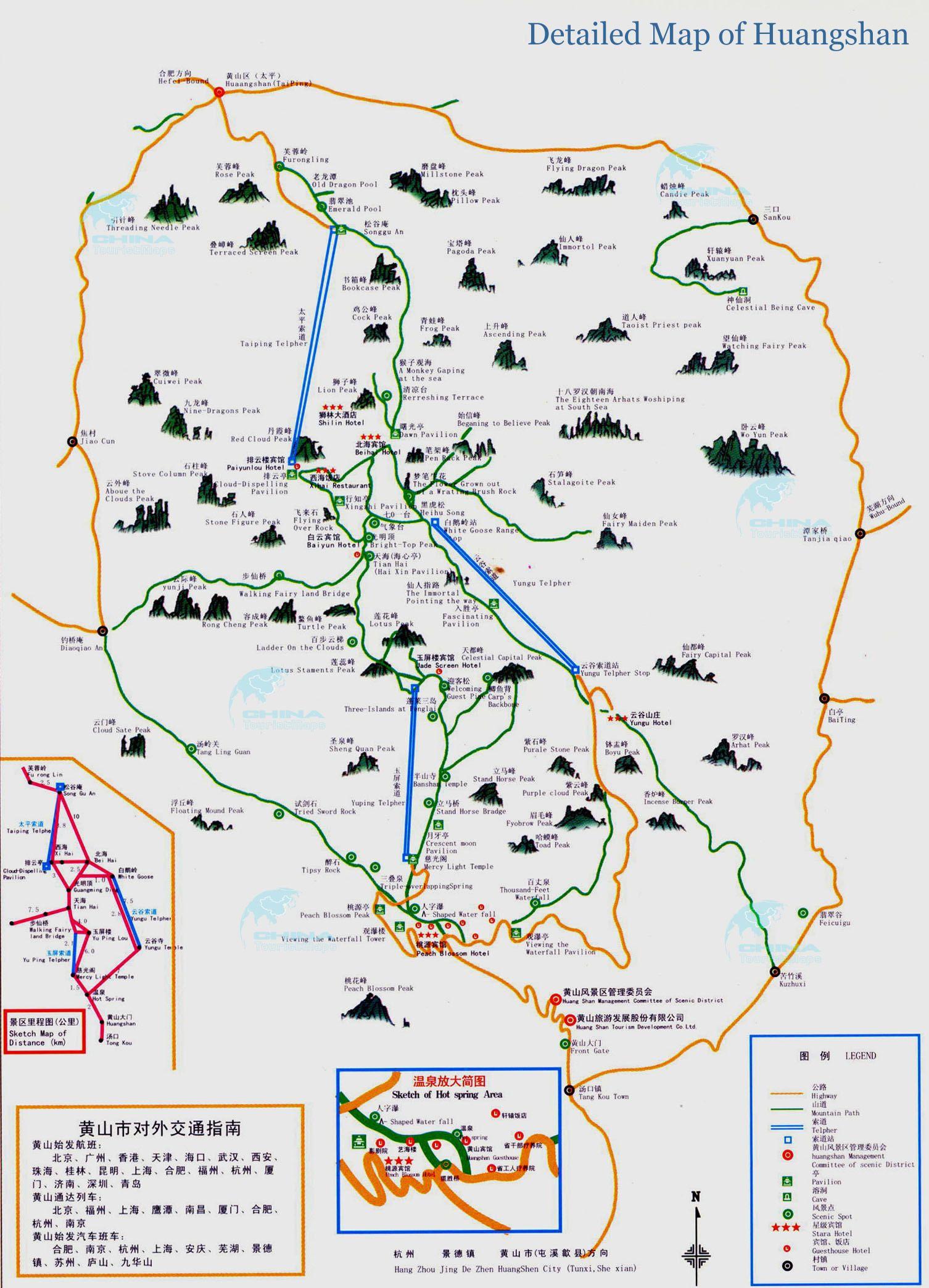 China Map In English.Huangshan Huang Shan Area Tourist Map English Hi Res Detailed