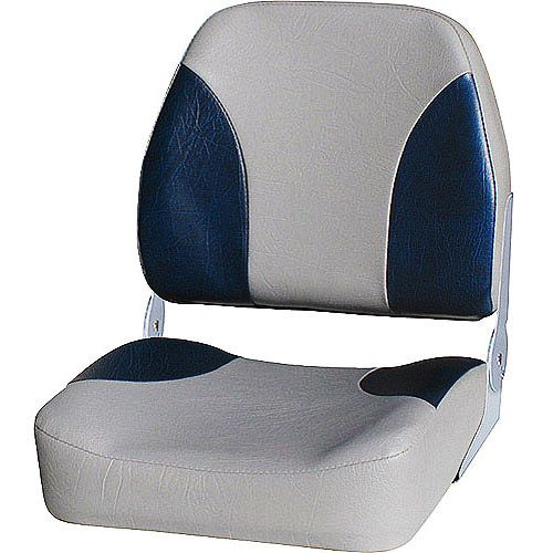 Folding Marine Boat Seat Low-Back for Pontoon Boating Fishing Foldable Gray