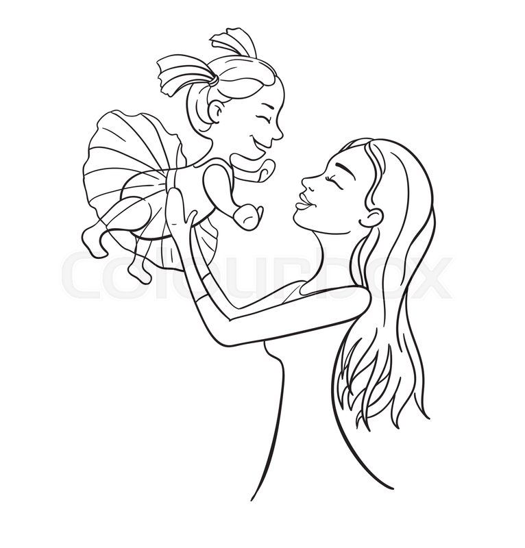 Mother And Daughter Outline Vector Illustration Happy Female