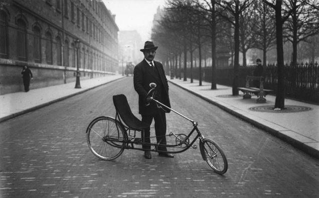 A comfortable bike, c. 1914.  wow a recumbent