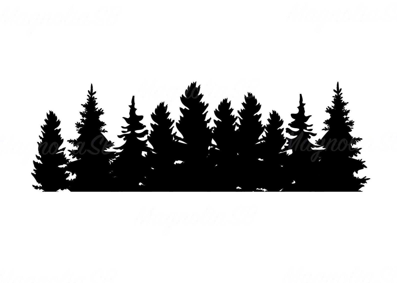 Pine Tree Clip Art Pine Cones Illustration Free Stock Clipartix Pine Tree Silhouette Pine Tree Art Silhouette Painting