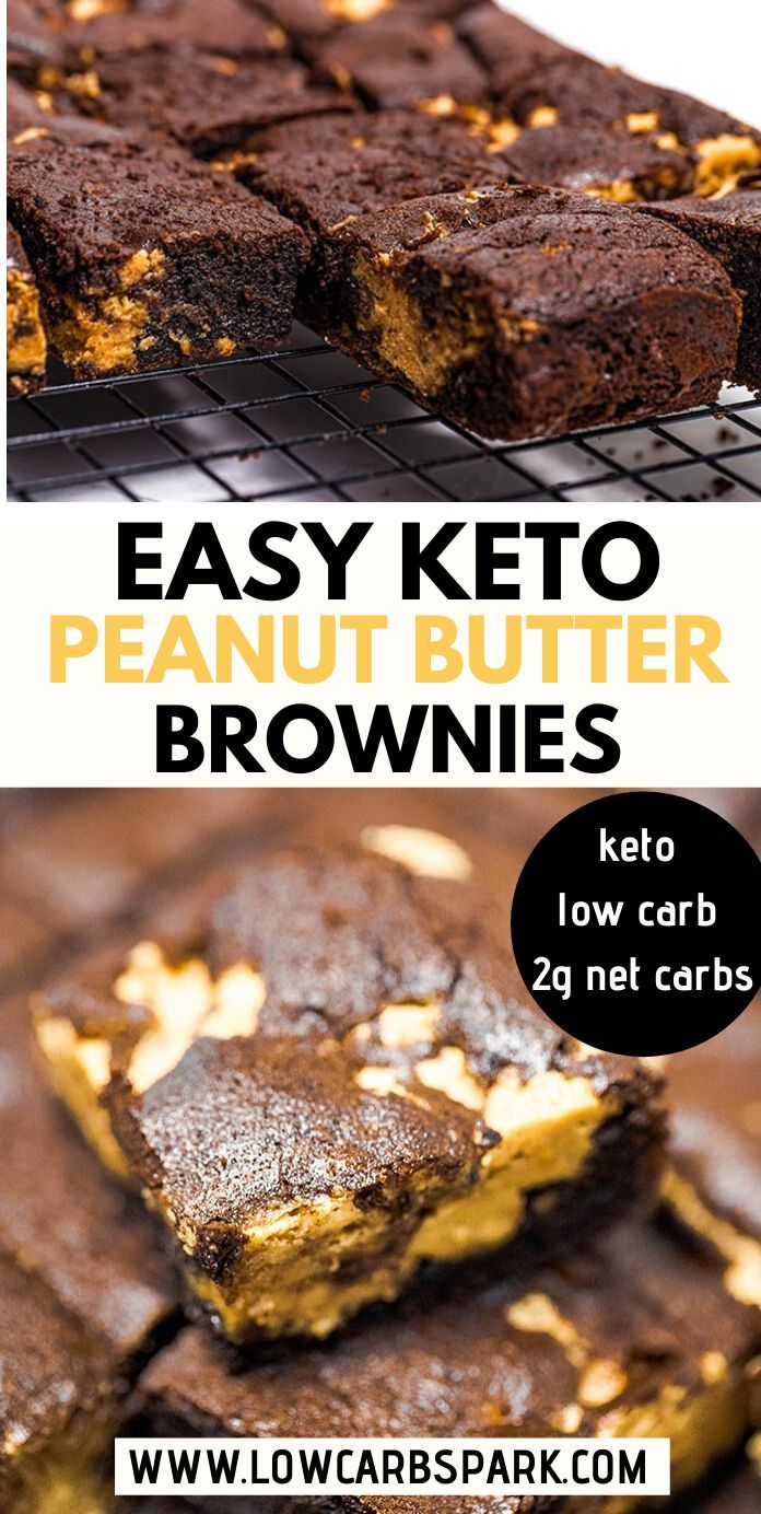 Keto Peanut Butter Brownies - Only 2g carbs - Low Carb Spark