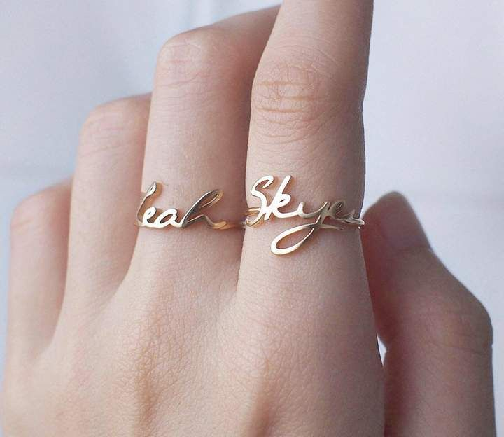 25fbcb89e4 Etsy Custom Name Ring - Personalized Name Ring - Gold Name Ring - Minimal  Name Jewelry - Custom Word Ring