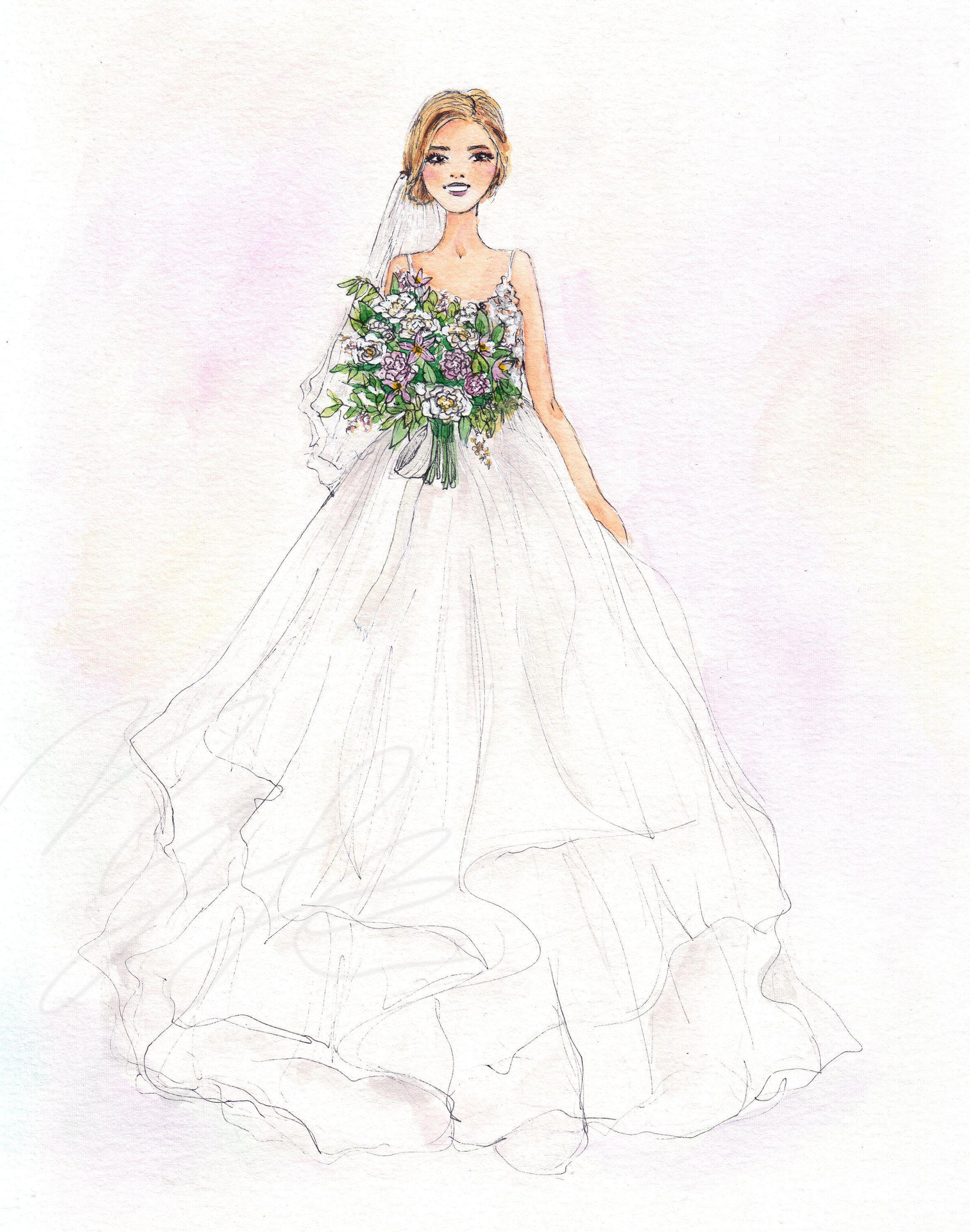 Custom Wedding Portrait Illustration Digital Download Custom Art