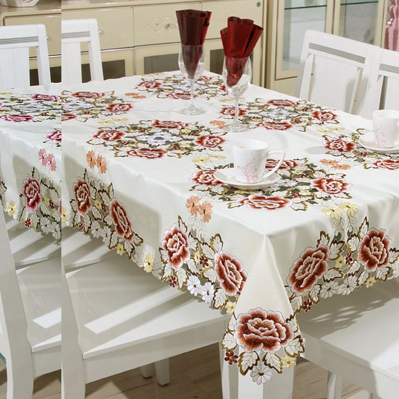 Tablecloth Tulle Hollow Lace Square Table Cloth Anti Oil European Polyester Waterproof Dining Chair Cloth N Floral Tablecloth Table Flowers Party Table Cloth