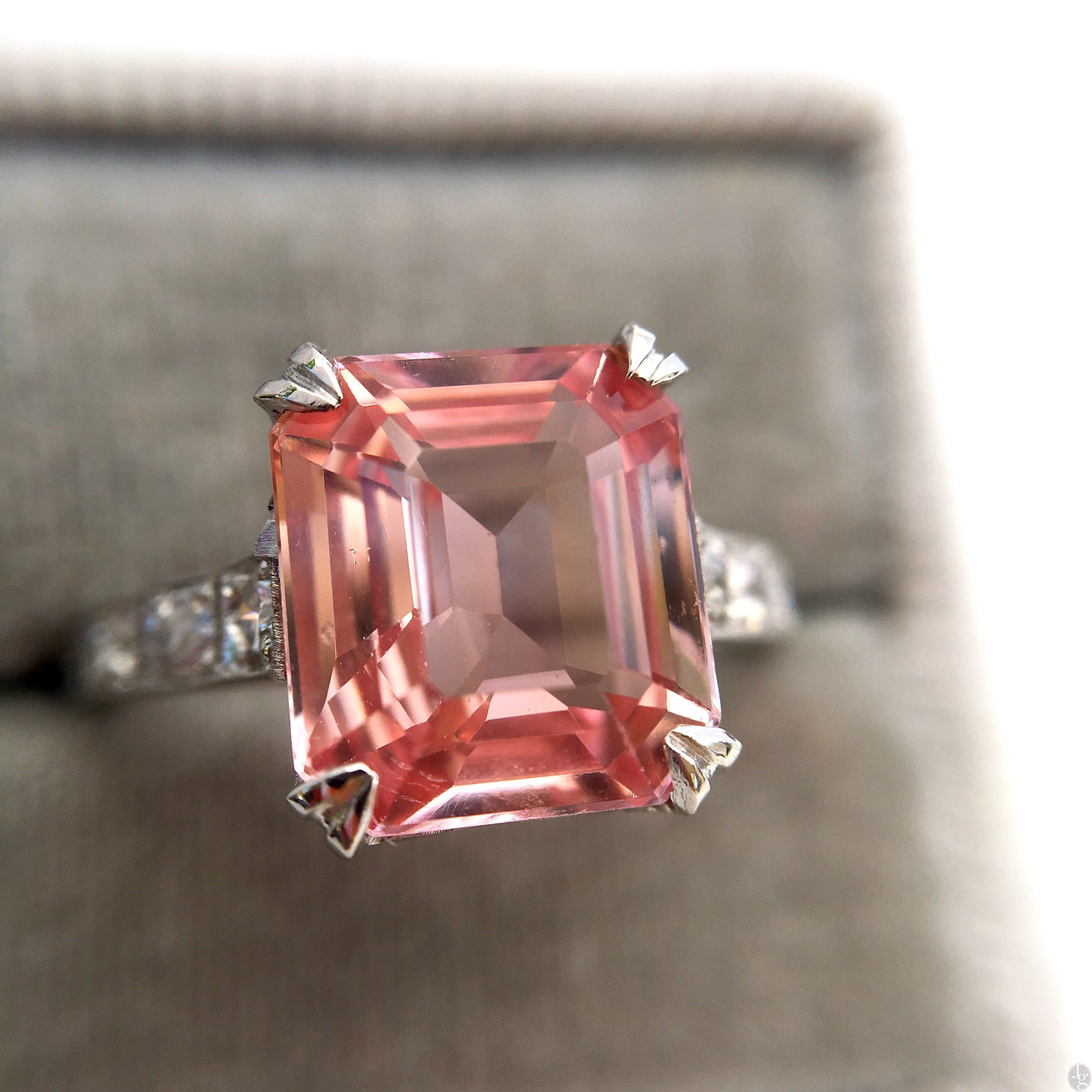 Ct padparadscha sapphire art deco ring gia no heat dreaming