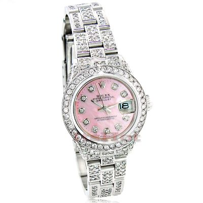 Rolex Datejust Ladies Custom Diamond Watch 12 25ct Pink
