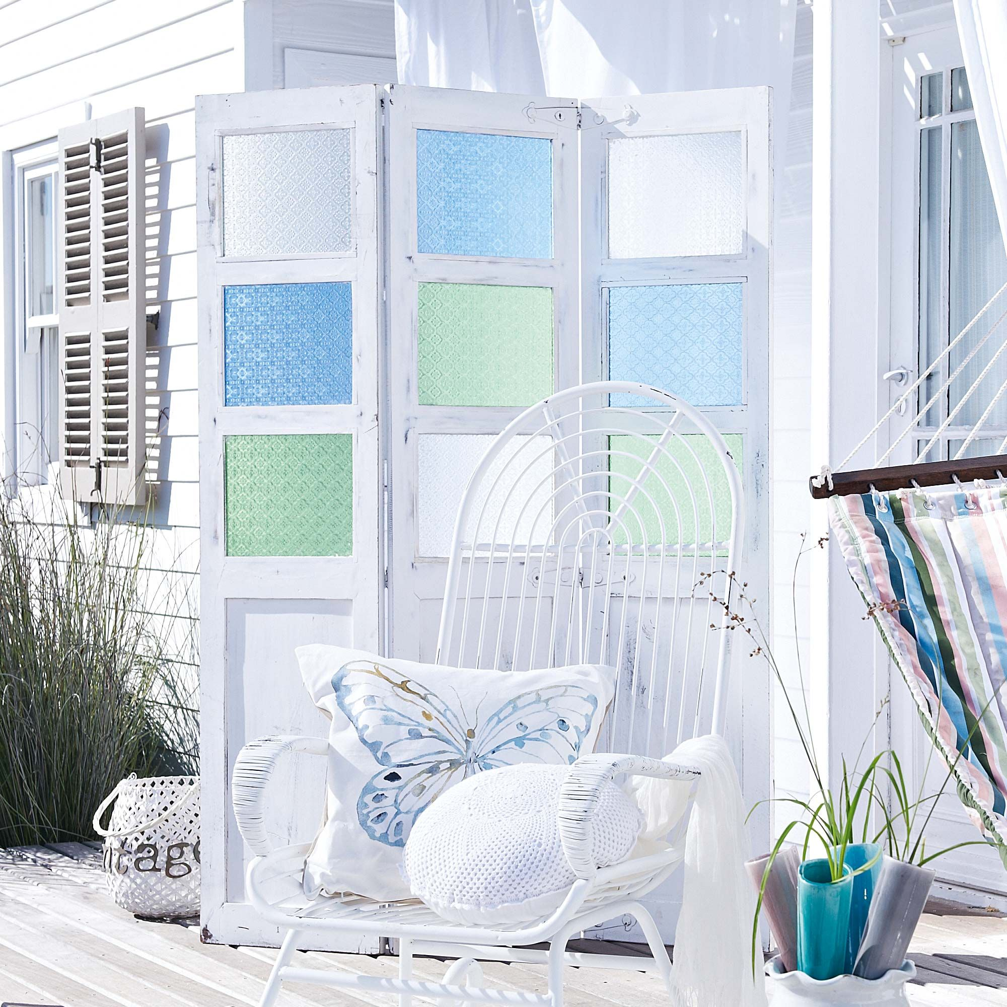Divider With Sea Glass Panels