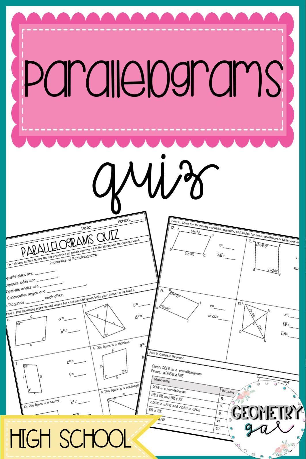 Parallelograms Quiz High school math activities, High