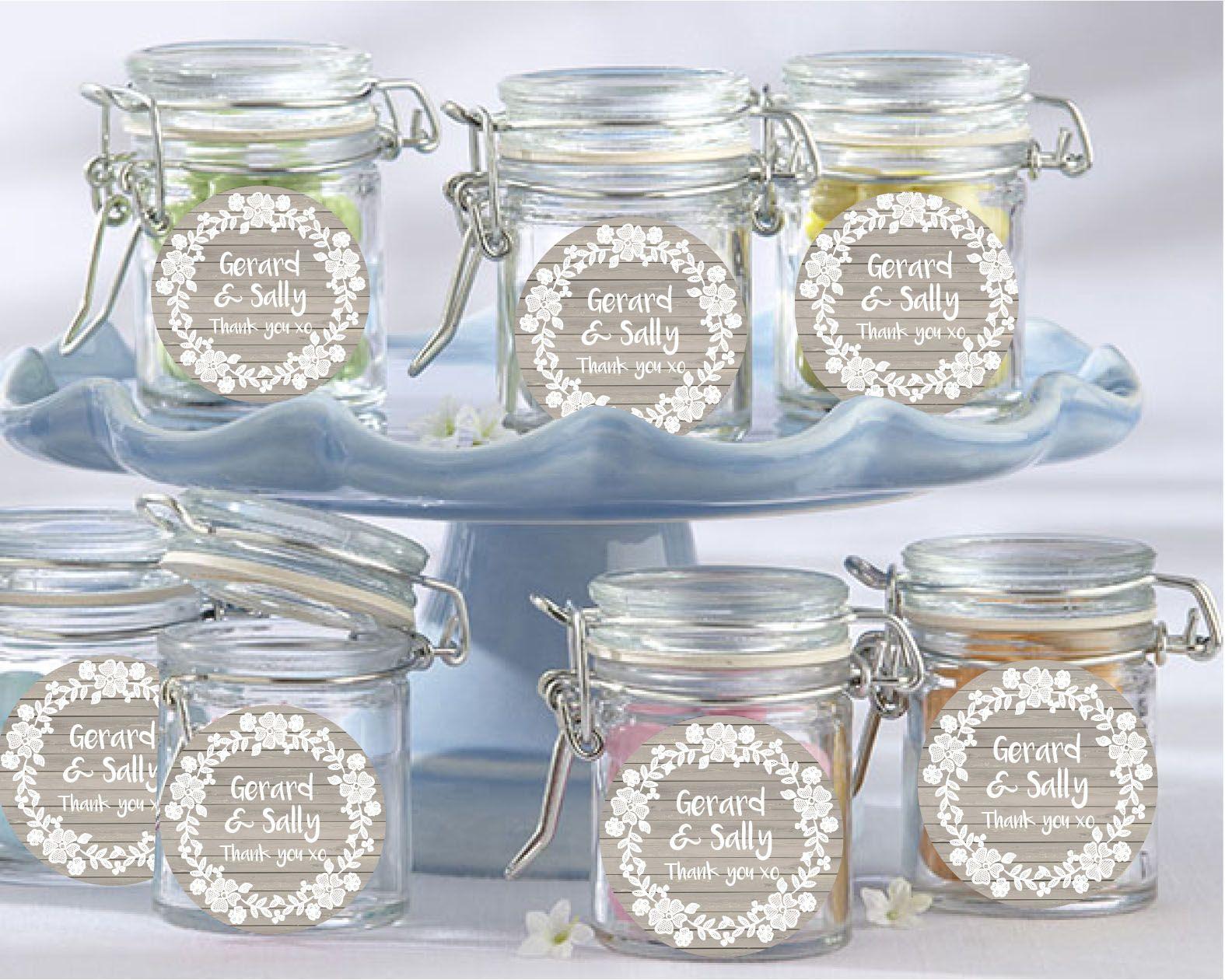 Lace Wreath Wedding Favour Jars Set Of 12 Customised Bomboniere