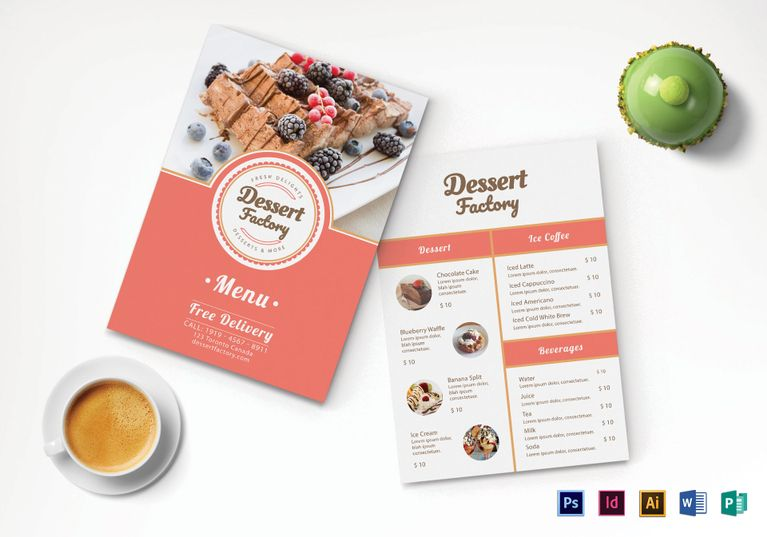 Elegant Dessert Menu Template Menu Template designs Pinterest