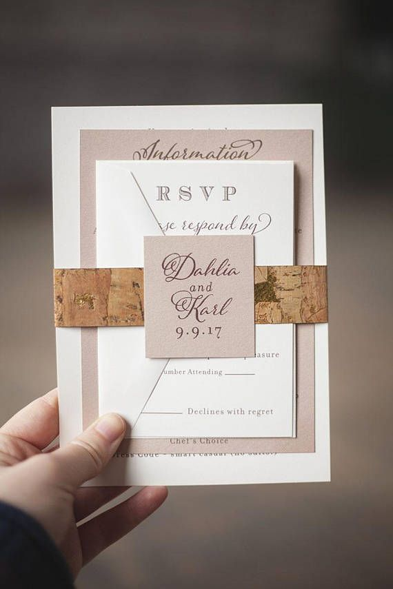 vineyard cork wedding invitation with neutral metallic colors cork