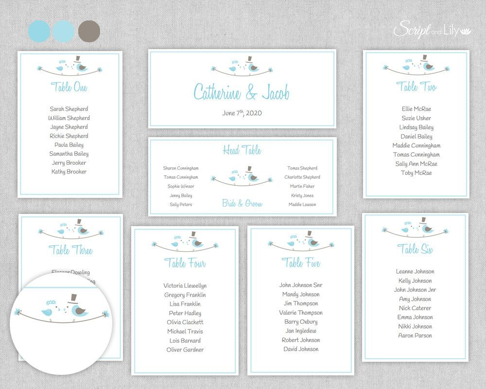 Seating Chart Templates Wedding Parties Free Color Change