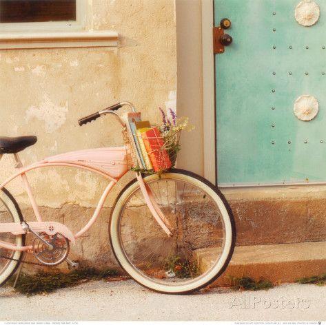 Vintage Pink Bike Posters by Mandy Lynne at AllPosters.com