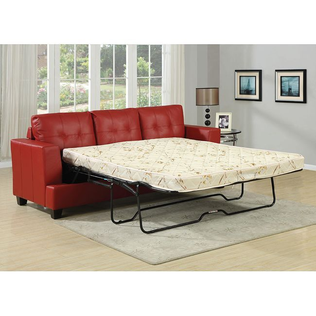 Diamond Red Bonded Leather Match Upholstered Pull Out Sleeper Sofa With Queen Mattress