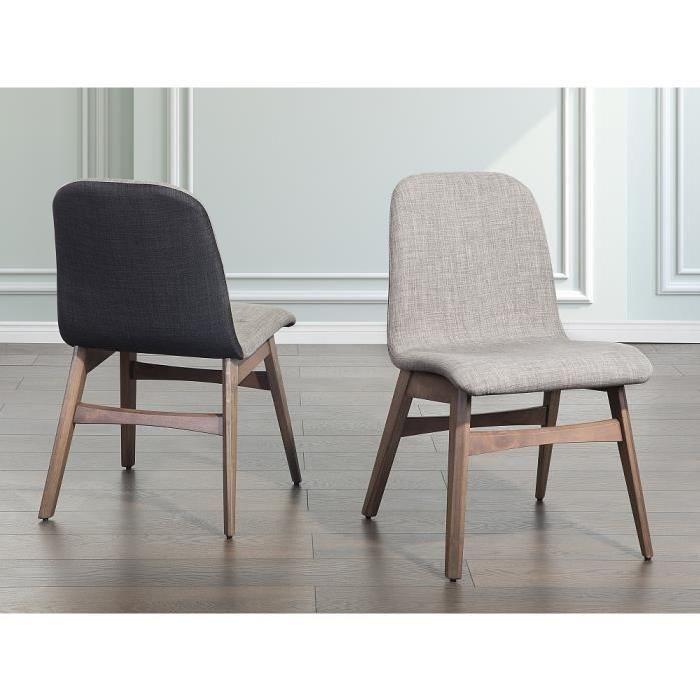 Chaise de salle à manger - chaise en tissu - gris clair - Madox