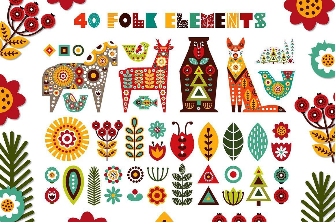 Nordic Animals Folk Kit Folk Embroidery Folk Art Flowers Scandinavian Folk Art