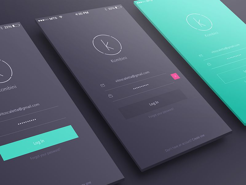 Kombini Log In Screen App Design App Design Inspiration Web App Design
