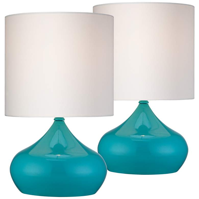 Steel Droplet 14 3 4 H Teal Blue Small Accent Lamps Set Of 2 X6637 Lamps Plus In 2020 Mid Century Modern Accent Table Accent Lamp Modern Accent Tables