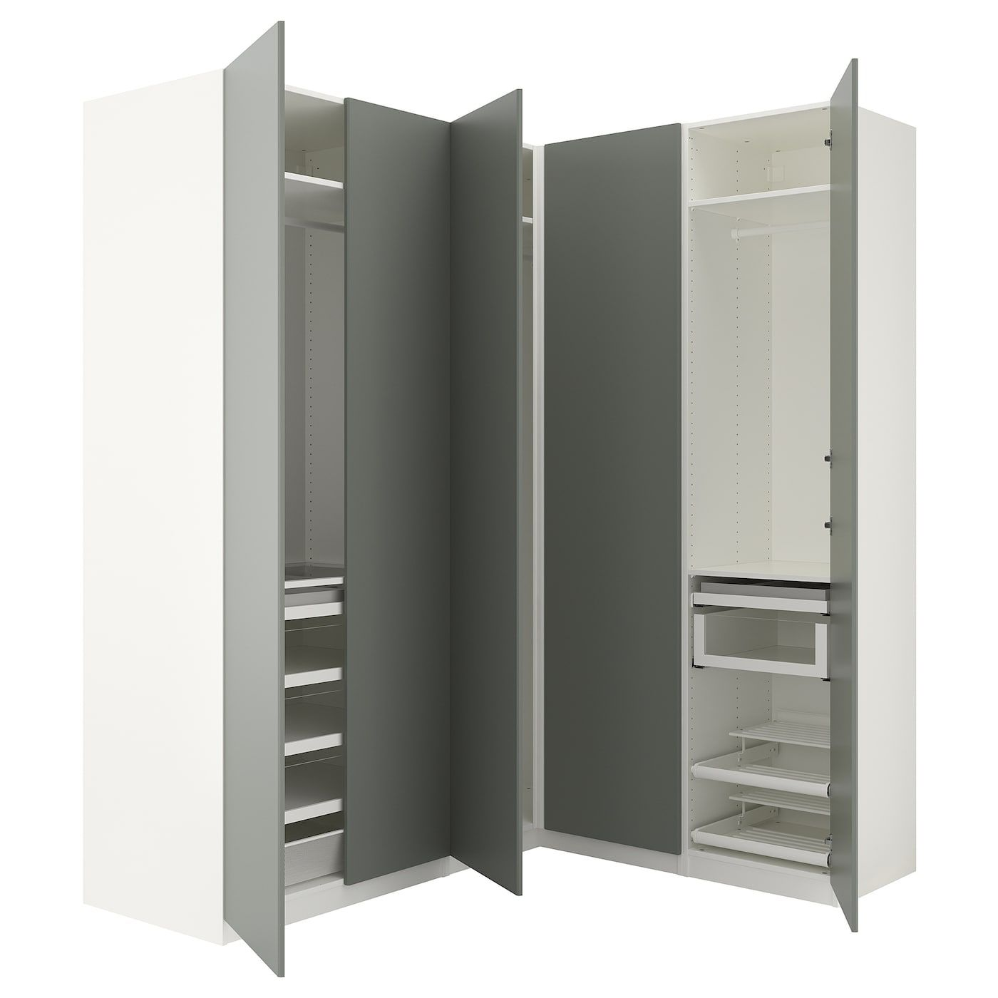 Pax Corner Wardrobe White Reinsvoll Gray Green 82 3 4 63 1 8x93 1 8 Ikea Pax Ikea Guarda Roupa Casal Planejado