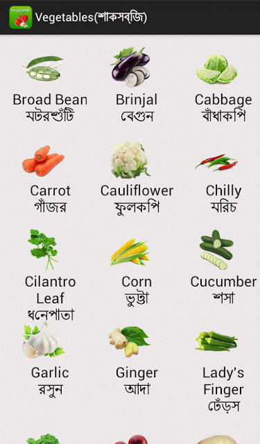 All vegetables name in english to bengali with pictures