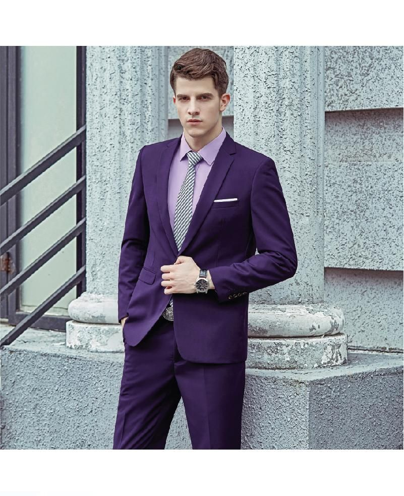 Mens purple suit 3PCS set (suit + vest + pants) High quality fabrics ...
