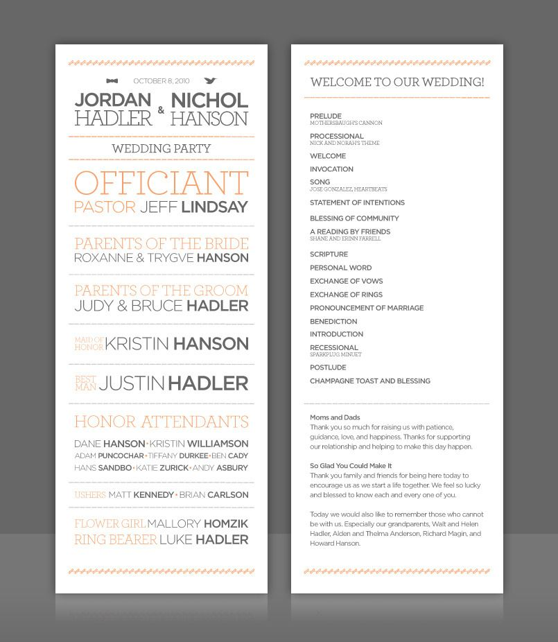 Wedding Program - right on trend with 2012 architectural type fonts ...