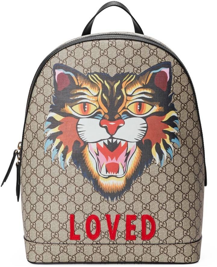 d967dda229 Gucci Angry Cat print GG Supreme backpack