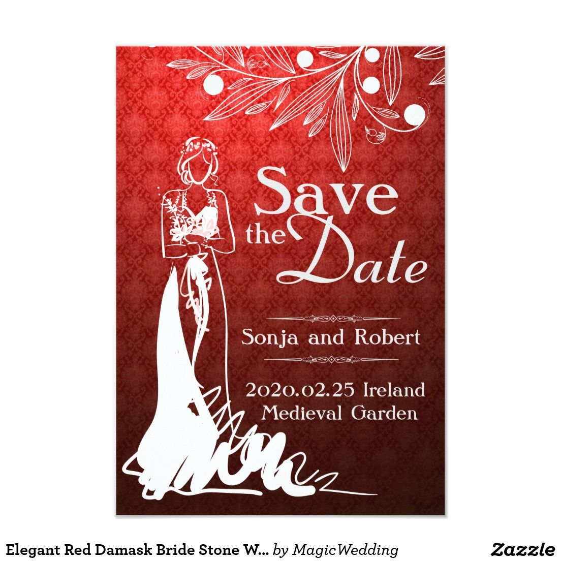 Elegant Red Damask Bride Stone Wedding Invitation | Pinterest ...
