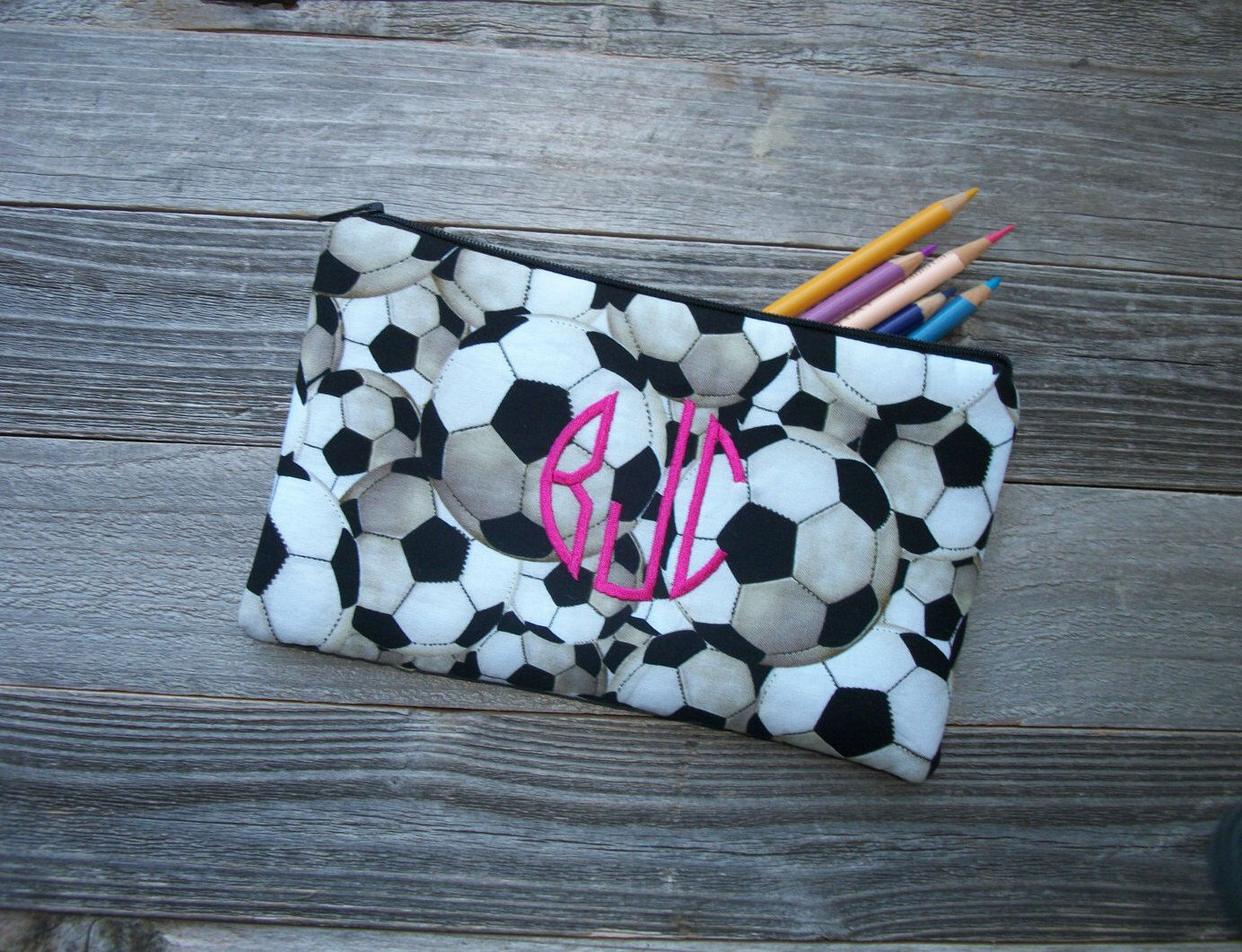 Monogrammed Soccer Make-up Bag/Pencil Case, Cotton, Padded, 5 x 9 inch (Embroidered) ***Choose your monogram color! by SewSweetParadise on Etsy https://www.etsy.com/listing/479787774/monogrammed-soccer-make-up-bagpencil
