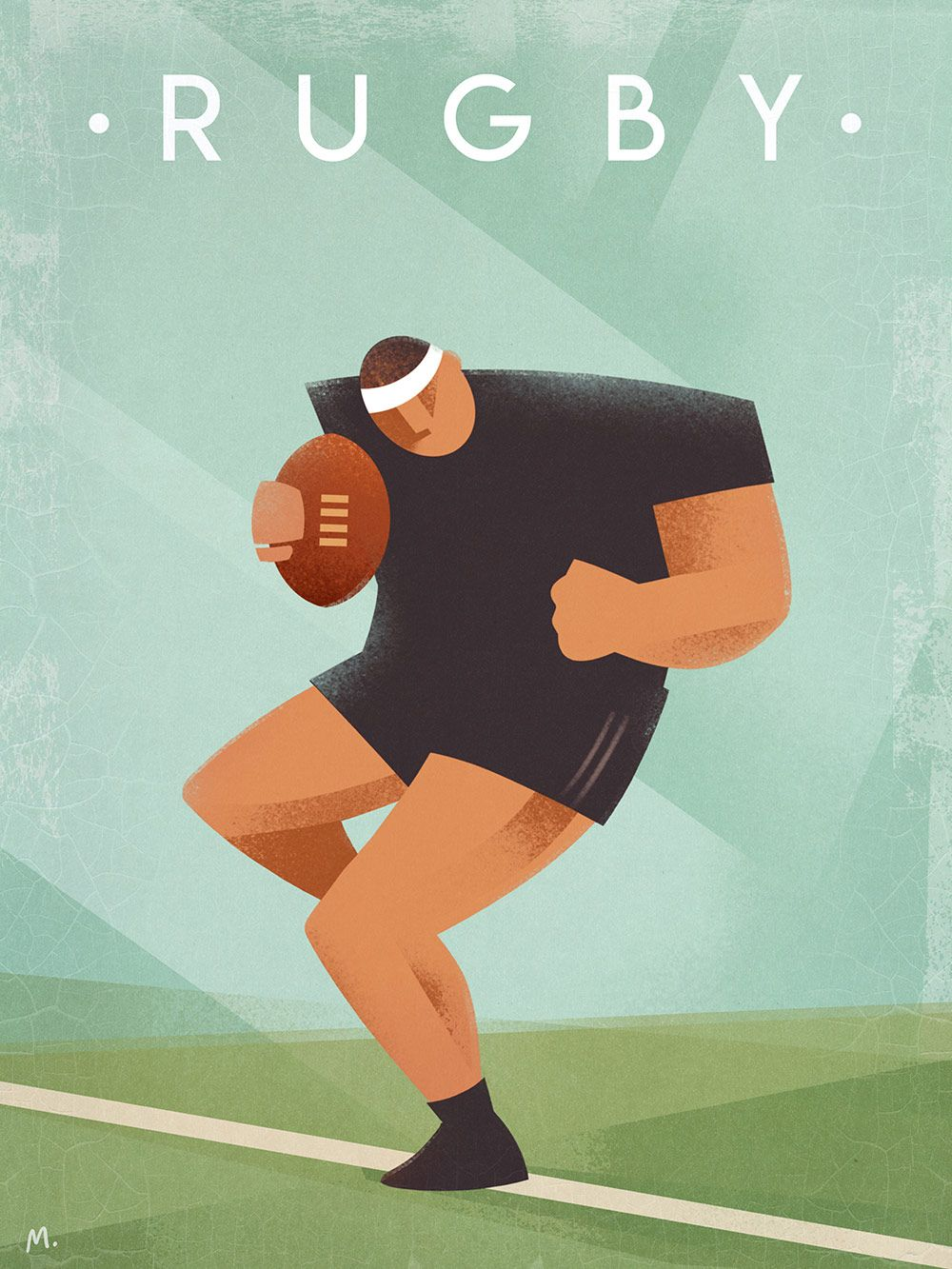 Vintage Rugby Poster Martin Wickstrom Rugby Vintage Rugby Poster Rugby Sport