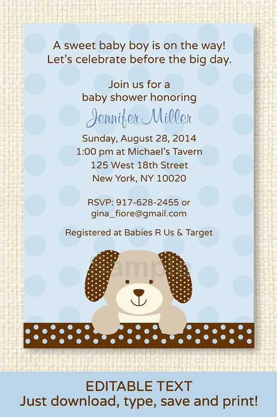 Cute puppy dog baby shower invitation puppy baby shower invite puppy dog baby shower invitation editable by littleprintsparties 1000 filmwisefo Image collections