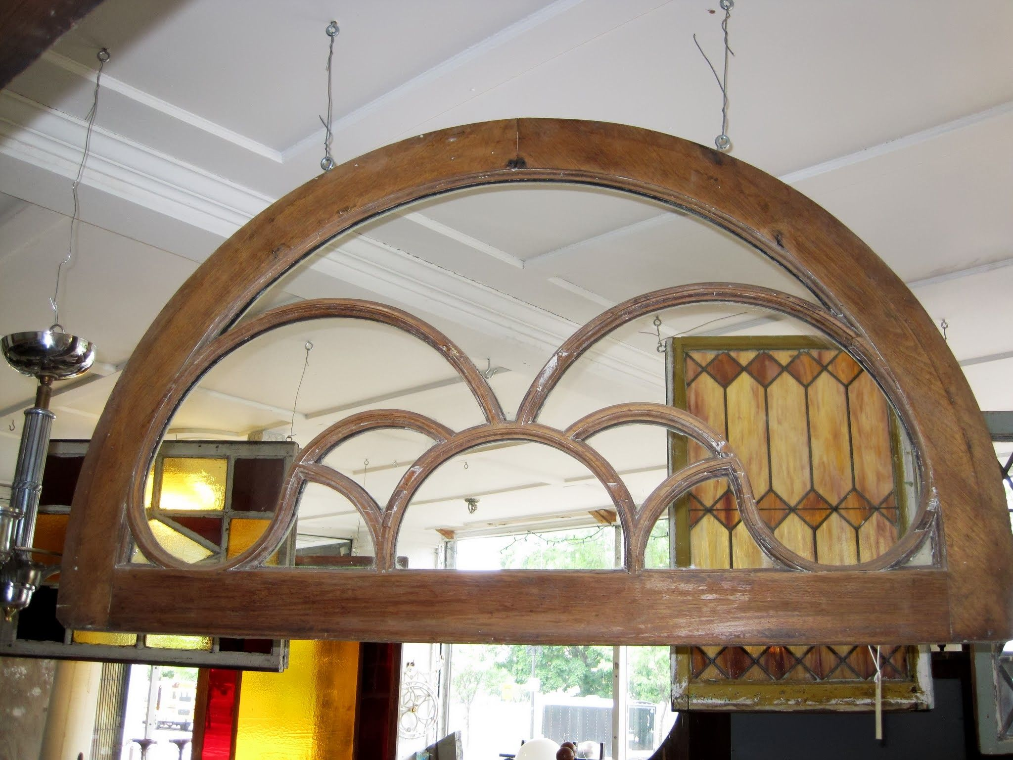 Unique design wood frame arch top window ca 1910 26 x for Arch top windows