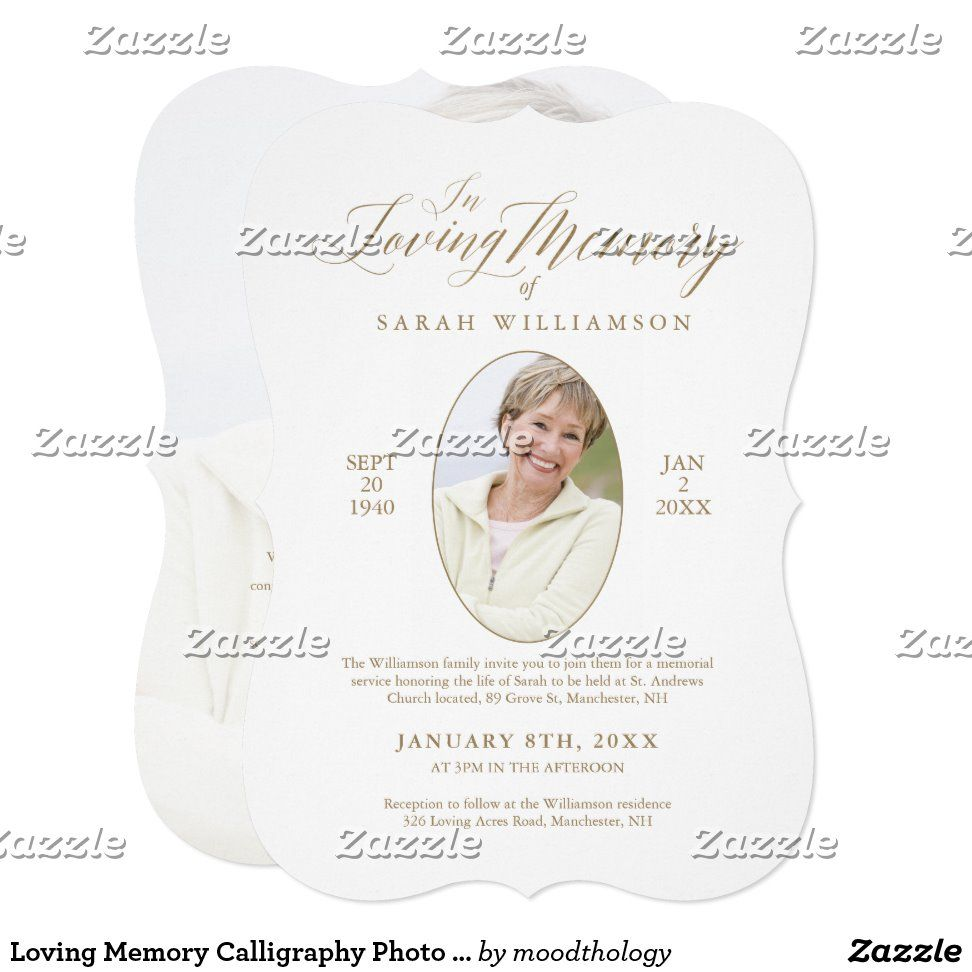 Loving Memory Calligraphy Photo Memorial Service Invitation