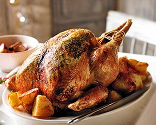 Brian Turner's sage-roasted turkey with brioche bread pudding & mulled apple compote
