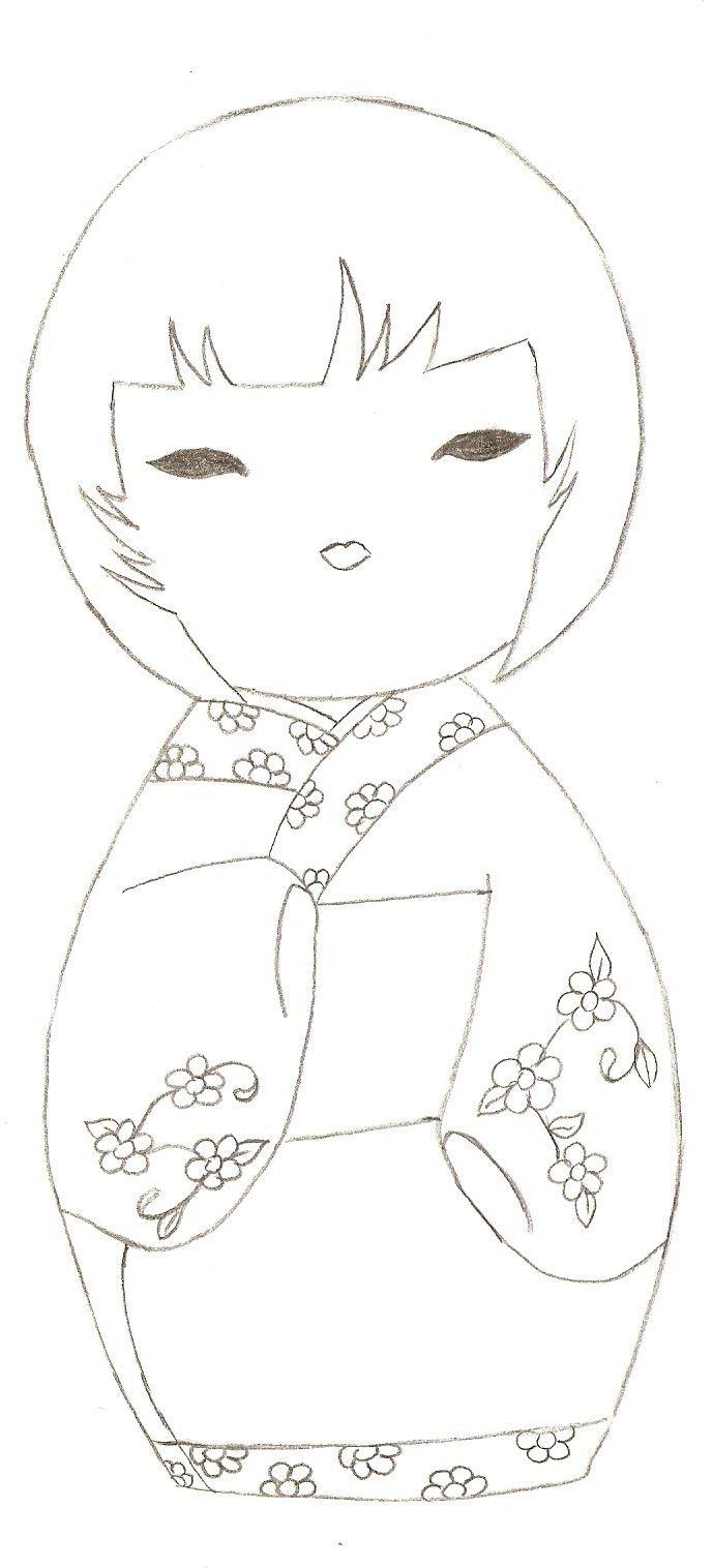 kokeshi coloriage   Quilt Patterns   Pinterest   Malbücher, Vorlagen ...