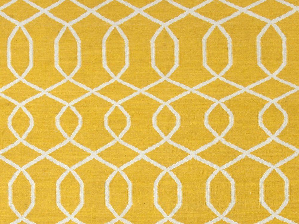 Jaipur Rugs Flat Weave Geometric Pattern Gold And Yellow Wool Handmade Area Rug Ub13