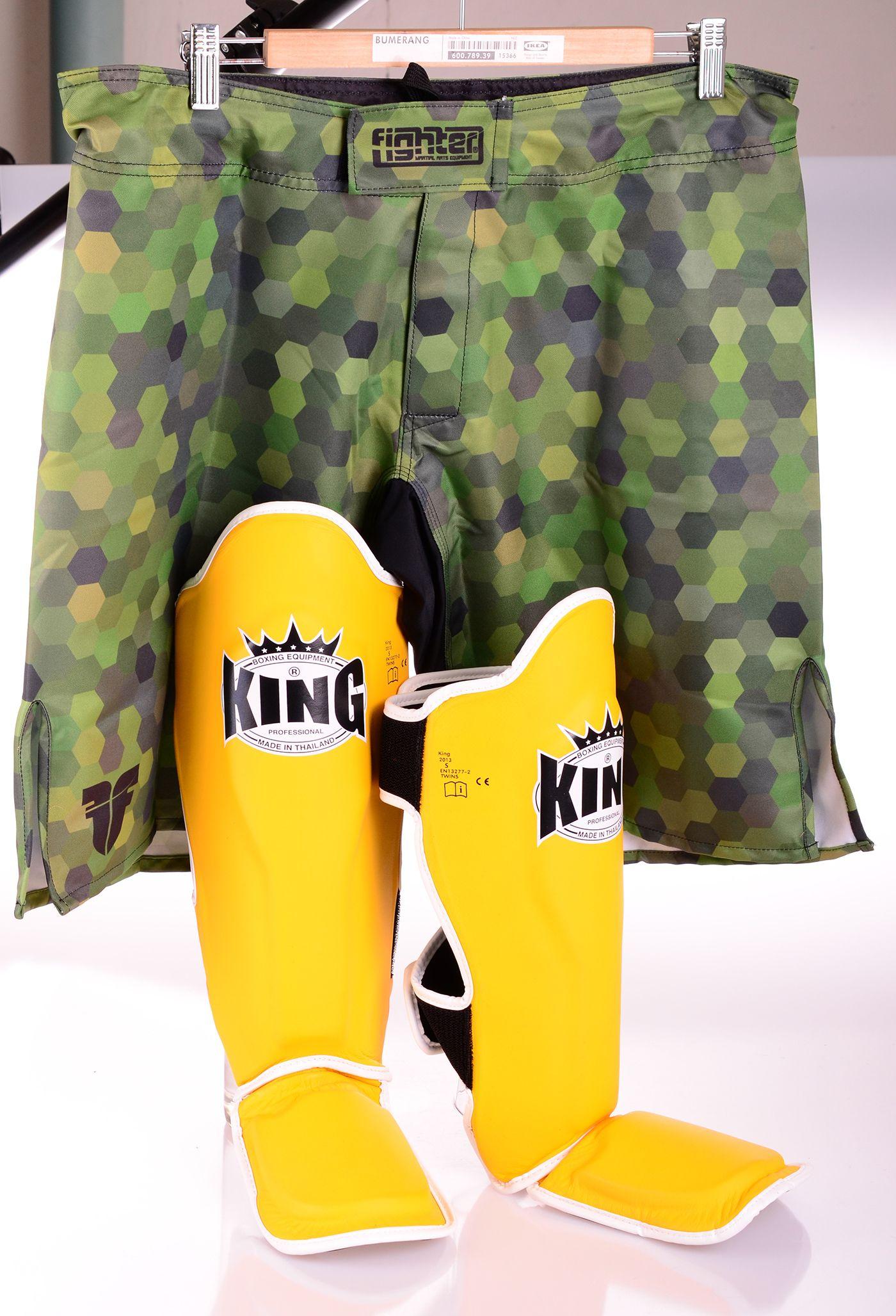 King Leather Profi Shin Guards Yellow Black Shin Guards Mma Shorts Yellow Black