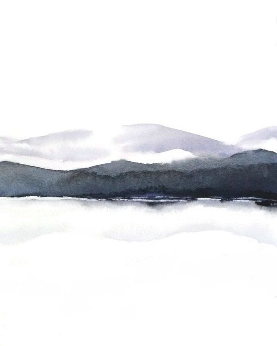 Black And White Painting Print Purple Grey Watercolor Landscape