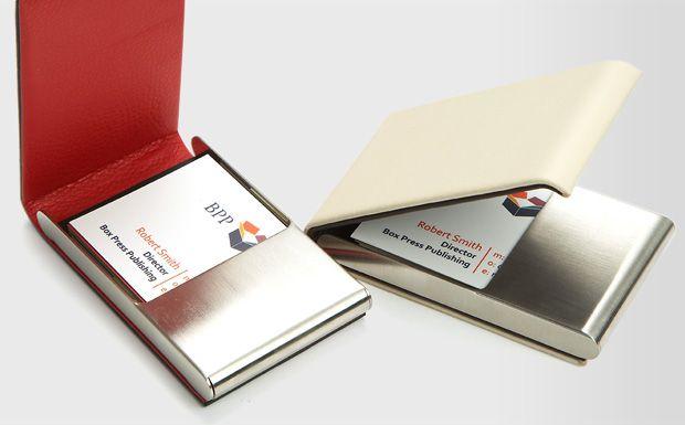Brushed Steel Leather Business Card Holder Leather Business Card Holder Leather Business Cards Business Card Holders