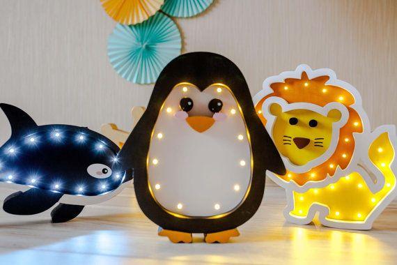 Penguin Lamp Night Light Kids Lamp Baby Room Baby Shower Lamp Etsy In 2020 Night Light Kids Kids Lamps Penguin Wall Decor