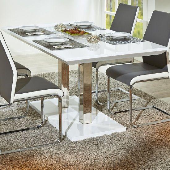 Edmonton Modern Extendable Dining Table In White High Gloss Modern Extendable Dining Table Dining Room Design Modern Extendable Dining Table
