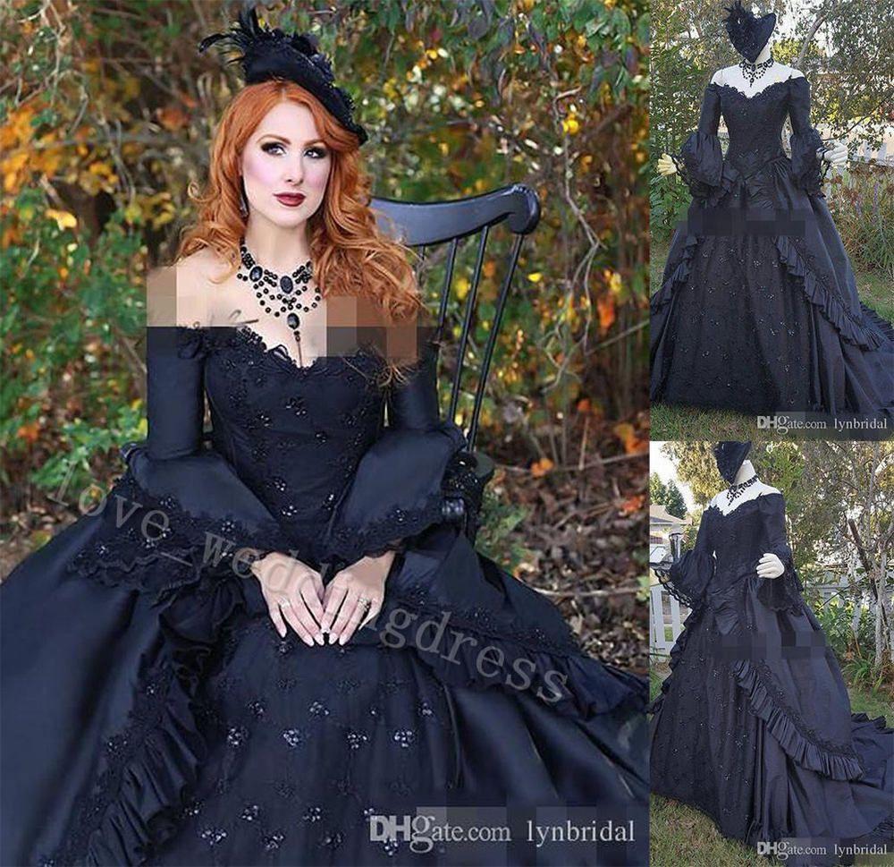 Brocade Victorian Gothic Wedding Dress Vintage Bell Long Sleeve Bridal Ball Gown [ 969 x 1000 Pixel ]