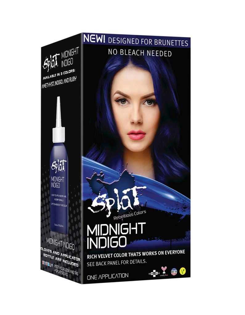 Brunettes Can Now Get Rainbow Hair Without Using A Drop Of Bleach Indigo Hair Midnight Hair Splat Midnight Hair Color
