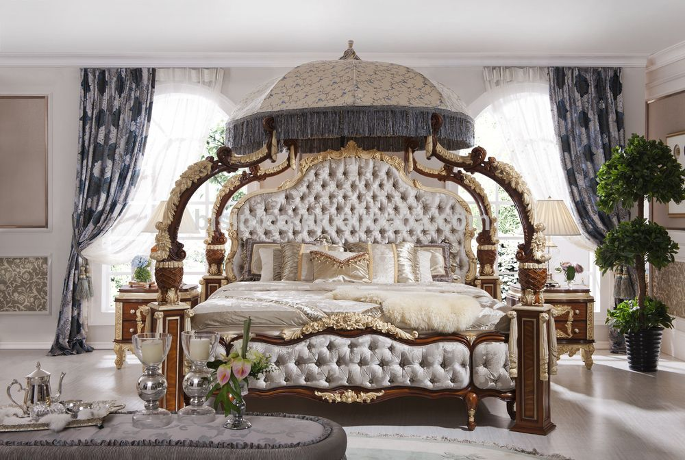 Italian French Rococo Luxury Bedroom Furniture Dubai Set