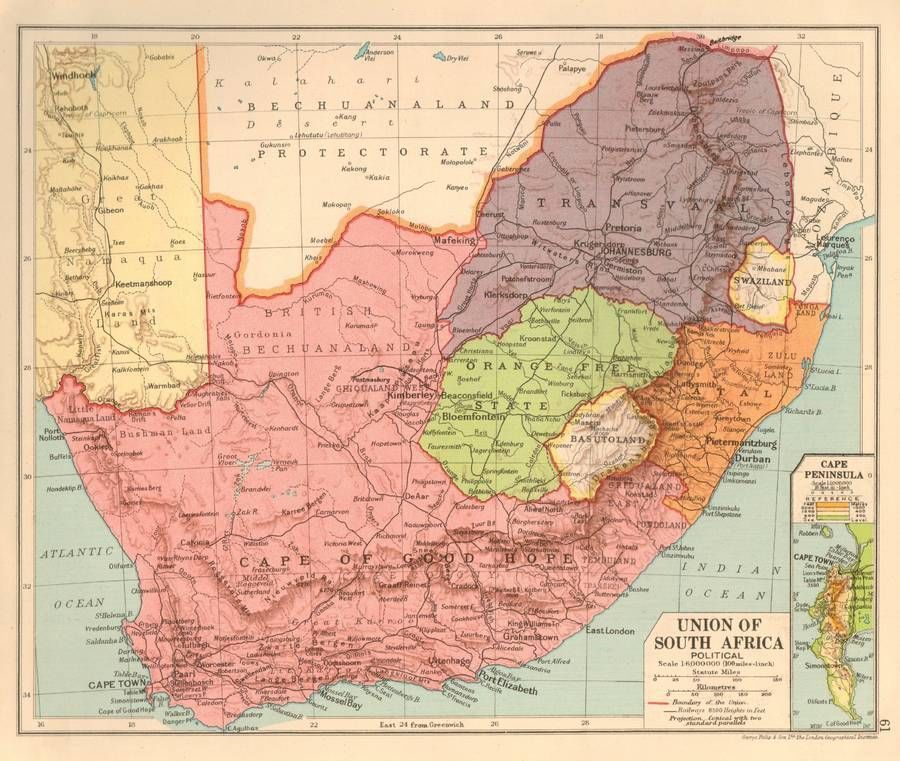 Union of South Africa 1930 Original Antique Map Political | Maps