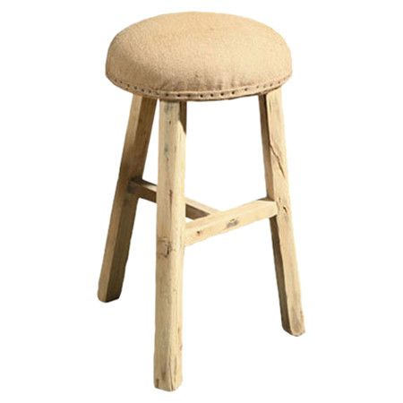 Terrific Elm Wood Barstool With A Burlap Seat Product Stool Beatyapartments Chair Design Images Beatyapartmentscom