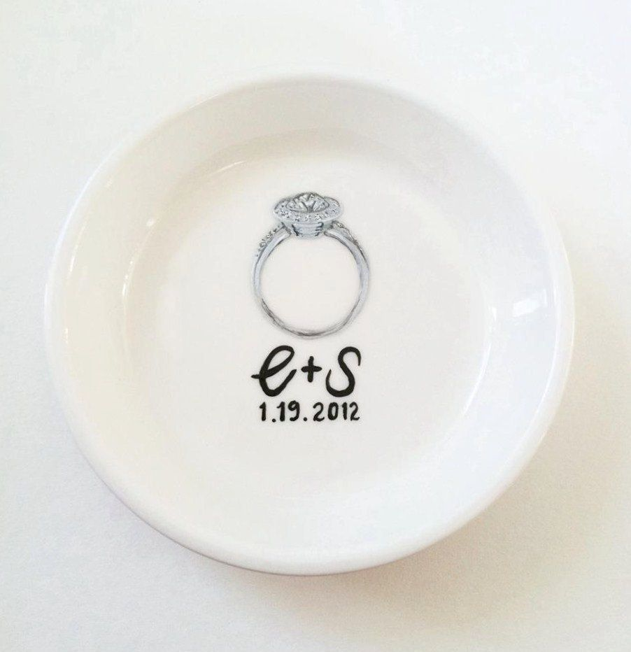 d62d227370 Awesome idea for a gift for a bride - customized to her engagement ring!! Custom  Ring Dish - Your Own Custom Engagement Ring Holder Dish.